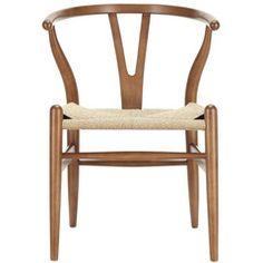 Hans Wegner Wishbone Style Chair - Walnut - Chairish