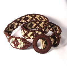 Macrame Belt Chocolate caramel braided Cavandoli woman by makrame, $78.00