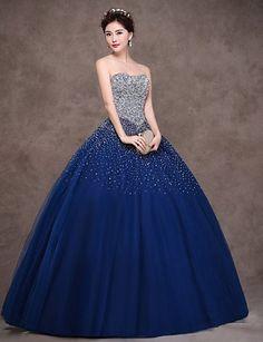 Pailletten kleid blau lang