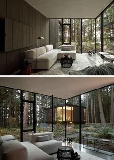 The Whidbey Island Farm Retreat Is Nestled Between Large Douglas Fir Trees – World Etes Architecture Details, Interior Architecture, Interior Design, Douglas Fir Tree, Small Modern Home, Modern Homes, Whidbey Island, Dark House, Forest House