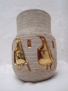 Fantastic Vintage 1960s 1970s Frantelli Fanciullacci FF Golden Penguin Vase