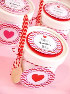Cute way to package favors for Valentine's - cookie mixes, popcorn, candy, jello!