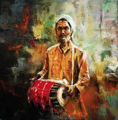 K N Ramachandran's Life of Color » Paintings and Art Gallery » Street Musician