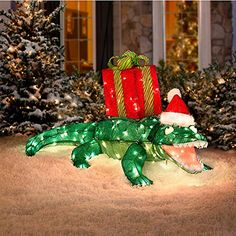 42 Quot Lighted Tinsel Animated Alligator Outdoor Christmas