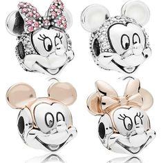 fe6440f83 925 Sterling Silver Bead Minnie Mickey Portrait Charm Fit Original Women Pandora  Necklace & Bracelet Gift DIY Jewelry