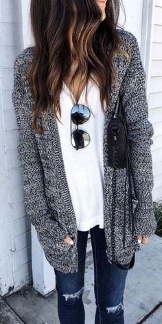 #fall #outfits / Grey Knitted Cardigan - White Tee