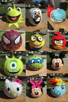 Simple awesome Halloween no carve pumpkin ideas. Pumpkin Art, Pumpkin Crafts, Fall Crafts, Holiday Crafts, No Carve Pumpkin Ideas, Olaf Pumpkin, Mickey Mouse Pumpkin, Simple Pumpkin Carving Ideas, Angry Birds Pumpkin