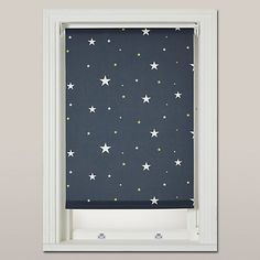 Buy John Lewis Starry Night Blackout Roller Blind, Navy, from our Ready Made Blinds range at John Lewis. Free Delivery on orders over House Blinds, Blinds For Windows, Nursery Blinds, Bali Blinds, White Blinds, Bedroom Decor Lights, Bedroom Night, Blackout Blinds, Black Curtains