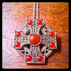 ❤️Vintage Carnelian Cross Maltese Brooch/Pendant 💗Vintage Silver Carnelian Maltese Cross Brooch/Pendant💗 Made by Miracle whose hallmark is on the bottom, highly collectible vintage jewelry maker.  This brooch is stunning.Crusaders were awarded it for bravery&it has become a symbol of courage, sacrifice, & protection. Firefighters adopted it as a badge of honor.The points of the cross symbolize the 8 points of courage-Loyalty, Piety, Bravery, Generosity, Contempt of death, Glory&honor…