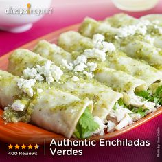 "Authentic Enchiladas Verdes | Why go to a restaurant when you can get authentic taste at home? A time-saving tip of the day is to make the meat and sauce ahead of time. The assembley only takes a few minutes for each enchilada. Amazing! "" -JEFE_YESSICA"