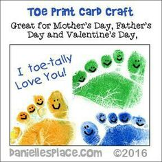 Toe-tally Awesome Valentine's Day, Mothers Day or even Fathers Day Crafts for Kids - If you use this craft and publish it online, please link back to Danielle's Place and give Danielle's Place credit. Valentine's Day Crafts For Kids, Daycare Crafts, Sunday School Crafts, Fathers Day Crafts, Valentine Day Crafts, Preschool Crafts, Fun Crafts, Kids Valentines, Grandparents Day Crafts