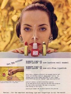 Revlon Lastron Nail Enamel & Lipstick Ad