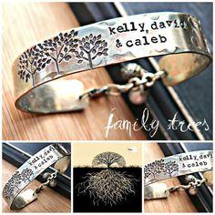 Hand Stamped Bracelet - Personalized Bracelet - Mothers Jewelry - Brass Cuff - FAMILY TREES. $45.00, via Etsy.