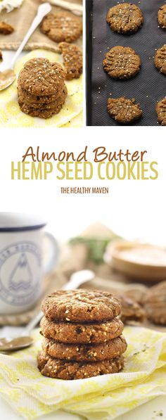 With just 4 basic ingredients and 3 optional ad-ins, these Almond Butter Hemp Seed Cookies couldn't get easier! They're made from clean ingredients, are high in protein and make a heart-healthy alternative to junk-filled cookies. Heart Healthy Desserts, Healthy Cookies, Healthy Sweets, Healthy Dessert Recipes, Vegan Desserts, Baking Recipes, Whole Food Recipes, Delicious Desserts, Healthy Baking