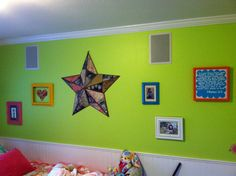 Love how five old frames spray painted, bring new life to Grace's wall!