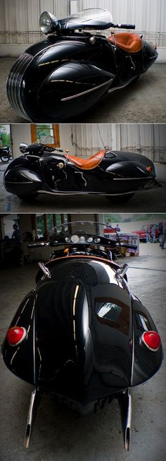 Cool streamlined style motorcycle. Henderson is a defunct brand of U.S.-made motorcycle that went bust around the time of the Great Depression. In 1936 designer O. Ray Courtney took a 1930 Henderson and modified it into this streamlined style