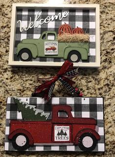 Cute Crafts, Fall Crafts, Christmas Crafts, Christmas Decorations, Diy Crafts, Decor Crafts, Dollar Tree Decor, Dollar Tree Crafts, Christmas Red Truck