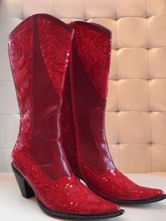 Some of my favorite boots! They can also be purchased at my boutique ~ Glitzy Chix!http://stores.glitzychixok.com/-strse-218/Red-Sequin-Cowgirl-Boots/Detail.bok
