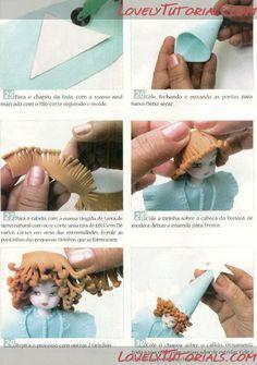 МК как слепить волосы/парик для куклы -How to Make a Doll Wig / Doll Hair - Страница 2 - Мастер-классы по украшению тортов Cake Decorating Tutorials (How To's) Tortas Paso a Paso