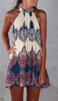 Boho Printed Halter Dress