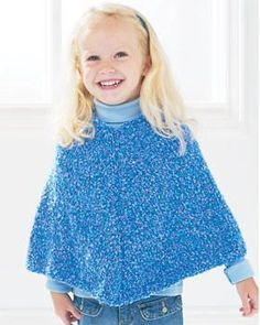 "This <a href=""http://www.favecrafts.com/tag/Knit-Poncho"">easy poncho knitting pattern</a> from Bernat Yarns can be adjusted to fit one year to eight year olds. Kids will love this fun and fashionable knitting pattern, and will keep them warm throughout the winter. Let your child pick his or her favorite color for the piece and make it for them before winter arrives. Save this <a href=""http:/&..."