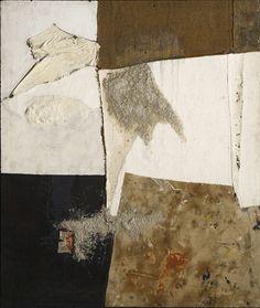 """ALBERTO  BURRI  -  Nero bianco e sacco (Black White and Sack), ca. 1954 Oil, fabric, burlap, pumice, and PVA on canvas 49 1/5 × 42 1/10 in 125 × 107 cm © Fondazione Palazzo Albizzini Collezione Burri, Città di Castello/2015 Artist Rights Society (ARS), New York/SIAE, Rome. Photo: Paolo Vandrasch and Romina Bettega """"Alberto Burri: The Trauma of Painting"""" at Guggenheim Museum, New York"""