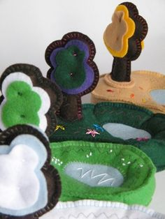 Four Seasons Felt Meadows - Preschool Toys  Stuffed miniature meadows - Spring, Summer, Autumn and Winter - made of 100% felt and designed to help toddlers to learn more about the changing world around.