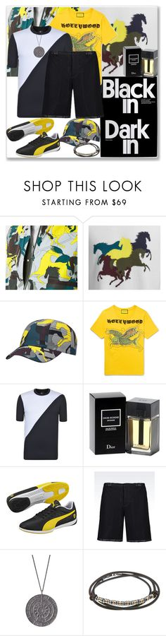"""""""Graphic Prints, Patterns and/or Color Blocking """"Menswear"""""""" by nefertiti1373 ❤ liked on Polyvore featuring Gucci, PS Paul Smith, Christian Dior, Puma, Emporio Armani, Rachel Entwistle, Platadepalo, men's fashion and menswear"""