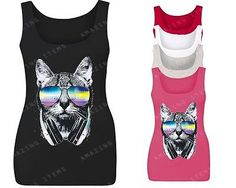 Cat Rave Headphones Women's Tank Top Fashion tops summer party clothing kitten | eBay
