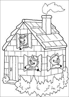 coloriage les 3 petits cochons dans la maison de briques