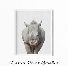 Rhinoceros Print, Rhino, Baby Shower Gift, Kids Room Decor, Nursery Poster, Safari Animal, Large Printable Poster, Digital Download, #447