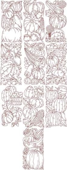 Advanced Embroidery Designs - Autumn Redwork Set II