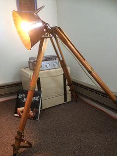 Vintage survey tripod lamp