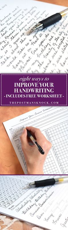 8 Tips to Improve Your Handwriting. Includes a free three-page cursive worksheet!