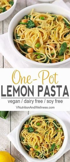 Lemon One Pot Pasta |This vegan Lemon One Pot Pasta is so easy to make and is ready in about 15 minutes. Leeks, peas, spinach, and chickpeas are added to round out this healthy meal! | vegan one pot pasta, lemon pasta, vegan pasta recipe via @VNutritionist