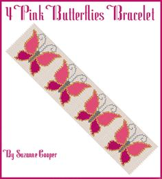 4 Pink Butterflies Bracelet at Sova-Enterprises.com Four happy butterflies flutter around your wrist on this bracelet. They are sure to bring a smile to your face and to others who look at your bracelet! A color key (Delica numbers and amounts) is included but of course you can use any colors you like.