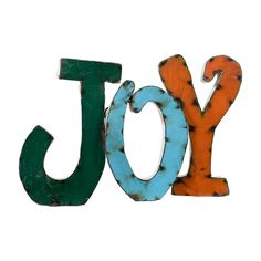 Industrial-chic metal Joy wall art. Perfect to place on the front porch at Christmas.