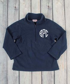 Stellybelly Black Fleece Half-Zip Red Monogram Pullover - Infant ...