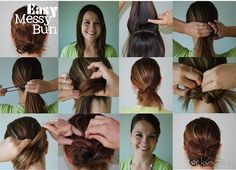 Easy Messy Bun Girl Loves Glam #hair #tutorial