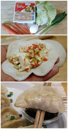 How to make vegetarian dumplings with tofu, cabbage, and carrots. #vegetarian #dumplings #tofu #asian