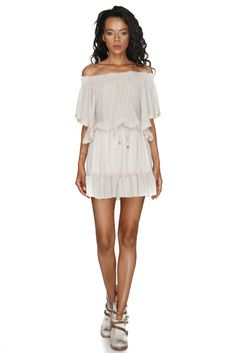 Summer dream-come-true beauty Vero Milano elastic neckline dress featuring an embroidered hemline, ruffles, and waistline adorning cord for a relaxed yet stylish look. Summer Dream, Spring Summer, Beige Dresses, Necklines For Dresses, True Beauty, Coachella, Hemline, Ruffles, Cord