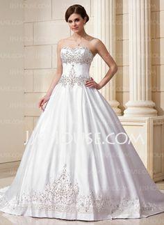 De baile Vestidos princesa/ Formato A Coração Cauda capela Cetim Vestidos de noiva com Bordados Bordado Lantejoulas (002011761)