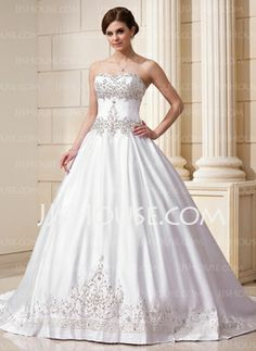 Ball-Gown Sweetheart Chapel Train Satin Wedding Dress With Embroidery Beadwork Sequins (002011761) - JJsHouse. I love this!