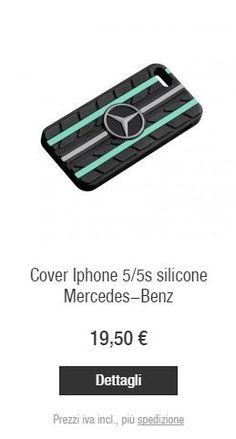 Dettagli  Custodia per iPhone ® 5/5S in silicone nero con dettagli color argento e verde brillante Petronas. Design esclusivo ed originale che riprende i battistrada Mercedes-Benz.