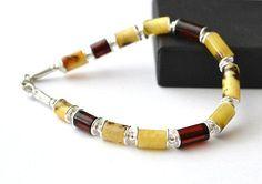Amber bracelet for men, Amber mens Jewelry, Untreated Amber jewelry, Mens Jewelry, men's bracelet with silver, gift for men