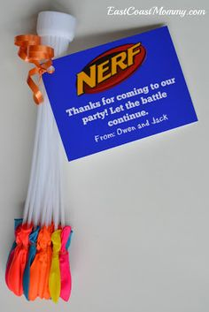 Nerf War is such a great party theme for both boys and girls of almost any age. So if your birthday child is considering a Nerf birthday party then you've just… Nerf Party Food, Nerf Birthday Party, Boy Birthday, Birthday Ideas, Birthday Board, Party Gift Bags, Party Favor Tags, Party Favors For Boys, Favor Bags
