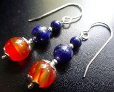 NWT 925 sterling SILVER LAPIS & CARNELIAN stone pierced dangle earrings K121 #katywroeDECADIMENTO #DropDangle