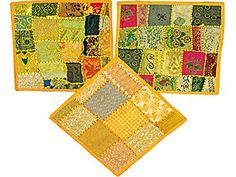 Indian Embroidered Cushion Pillow Cover Throw Yellow Patchwork India Vintage Sari Mogul Interior http://www.amazon.com/dp/B00VFMXXR4/ref=cm_sw_r_pi_dp_WJXvvb0PS2K0J