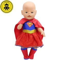 43センチbaby bornツァップ人形服新しいスーパーマン衣装ドレス+マント+靴下赤ちゃん生まれた人形アクセサリー子供最高の贈り物200