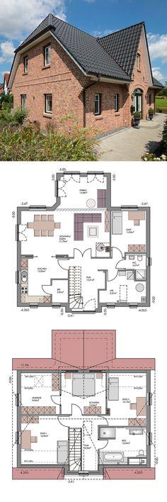 Landhaus mit Klinker Fassade & Friesen Giebel Architektur - Kapitänshaus bauen als Massivhaus Grundriss Friesenhaus Hamburg von ECO System Haus - HausbauDirekt.de